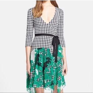 Diane Von Furstenberg Riveria Gingham Wrap dress 8